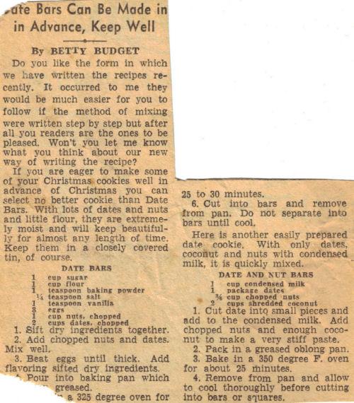 Vintage Date Bars Recipe Article