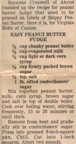 Easy Peanut Butter Fudge Recipe Clipping