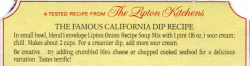 Lipton's Famous California Dip Recipe