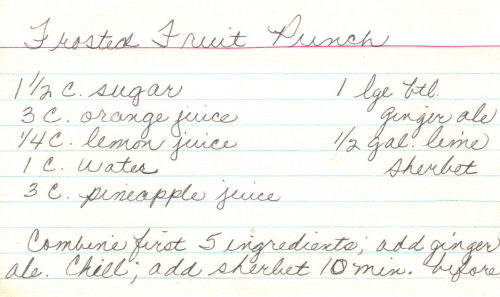 Frosted Fruit Punch Recipe Card
