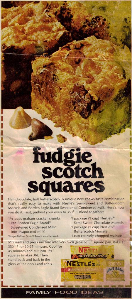 Fudgie Scotch Squares Recipe Clipping