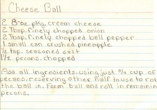 Handwritten Cheese Ball Recipe Card