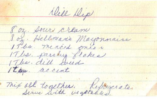 Handwritten Dill Dip Recipe Card