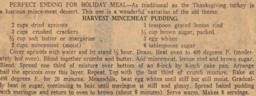 Harvest Mincemeat Recipe Clipping