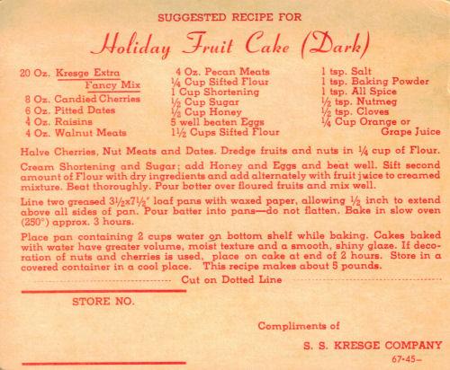Holiday Fruit Cake Dark Vintage Recipe Card