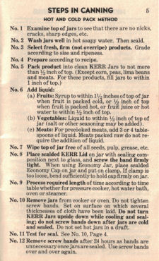 Hot & Cold Pack Method - Vintage Home Canning Guide - Click To View Larger
