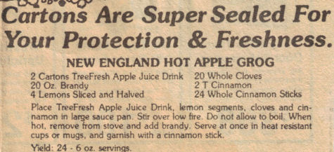 New England Hot Apple Grog Recipe Clipping
