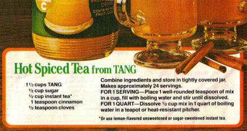 Hot Spiced Tea Tang Recipe Clipping