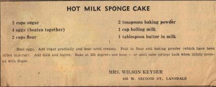 Hot Milk Sponge Cake Recipe Clipping