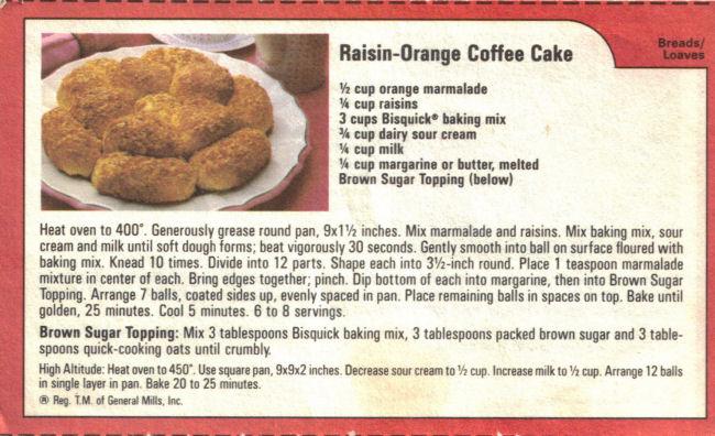 Raisin Orange Coffee Cake Recipe Card 171 Recipecurio Com