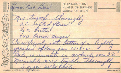 Vintage Lemon Nut Bar Handwritten Recipe Card