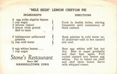 Mile High Lemon Chiffon Pie Recipe Card - Click To View Larger