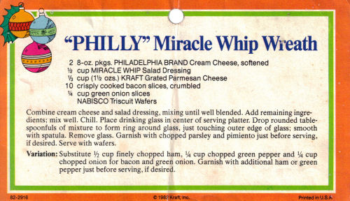 Philly Miracle Whip Wreath Recipe