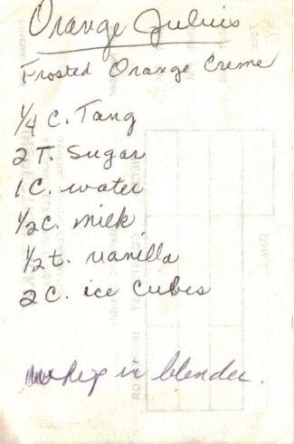 Handwritten Orange Julius Recipe