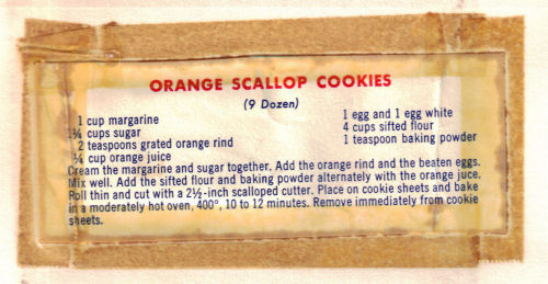 Orange Scallop Cookies Recipe Clipping - Vintage