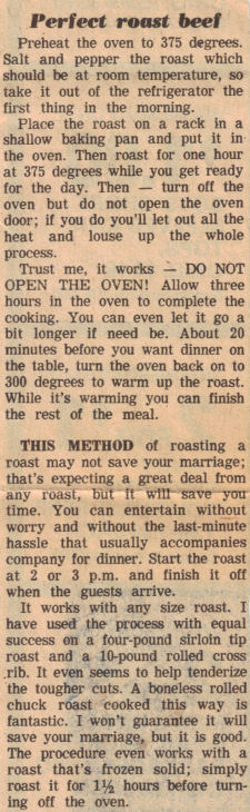 Perfect Roast Beef Timesaver Tip (Vintage Clipping)