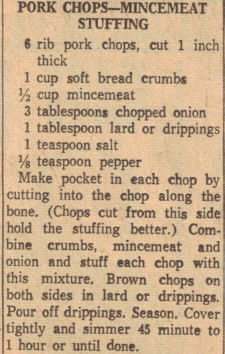 Pork Chops Mincemeat Stuffing Recipe Clipping