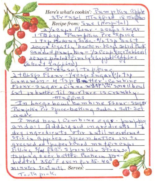 Handwritten Pumpkin Apple Streusel Muffins Recipe Card