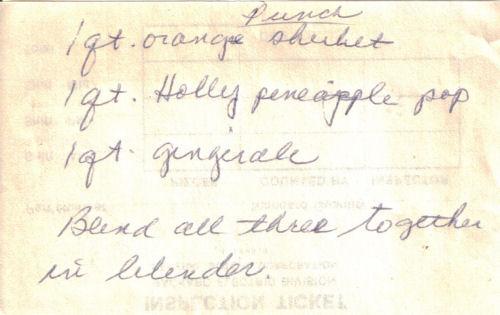 Vintage Handwritten Punch Recipe