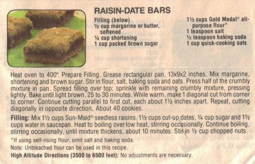 Raisin-Date Bars Recipe