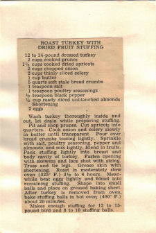 Roast Turkey Dried Fruit Stuffing Recipe Clipping - Click To View Larger