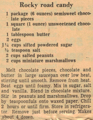 Rocky Road Candy Recipe Clipping