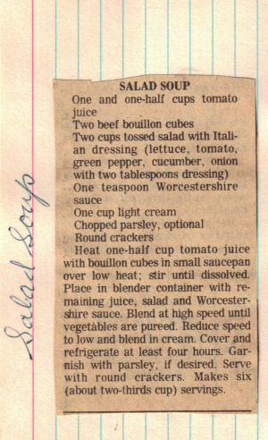 Salad Soup Recipe Clipping