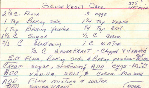 Sauerkraut Cake Recipe Handwritten Vintage
