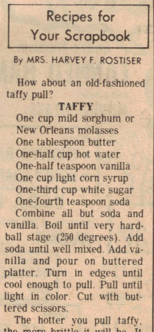 Taffy Recipe Clipping