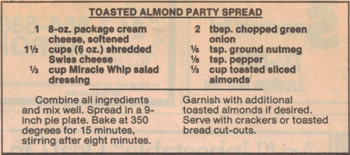 Toasted Almond Party Spread Recipe Clipping