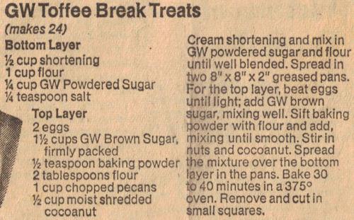 GW Toffee Break Treats Recipe Clipping