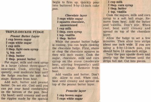 Triple-Decker Fudge Recipe Clipping