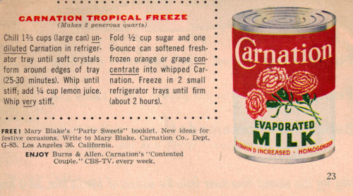 Carnation Tropical Freeze Recipe Clipping