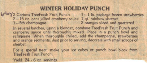 Winter Holiday Punch Recipe Clipping