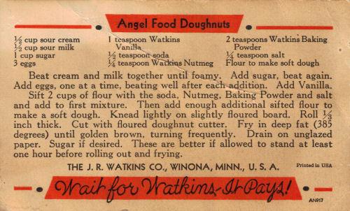 Vintage Watkins Angel Food Doughnuts Recipe Card