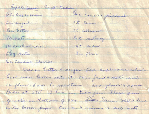 Handwritten Applesauce Fruit Cake Recipe