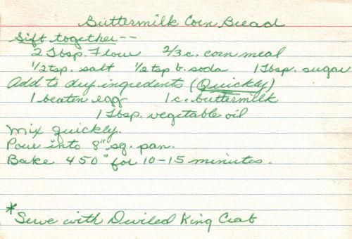 Handwritten Recipe For Buttermilk Corn Bread