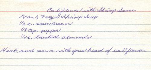 Handwritten Recipe For Cauliflower With Shrimp Sauce
