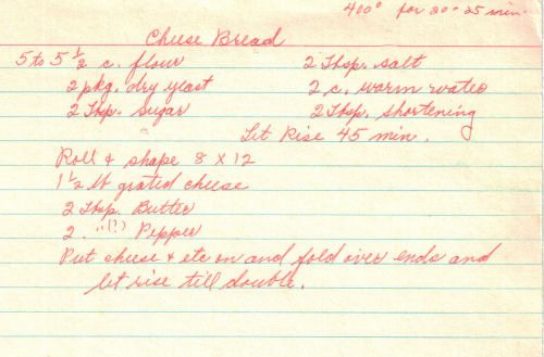 Handwritten Recipe For Cheese Bread