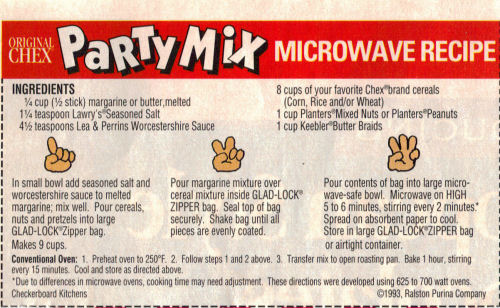 Recipe Clipping For Chex Party Mix - Microwave