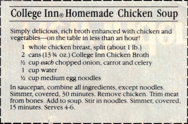 College Inn Chicken Soup Recipe Clipping