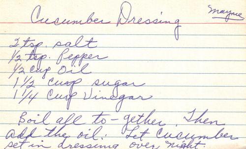 Handwritten Recipe For Cucumber Dressing