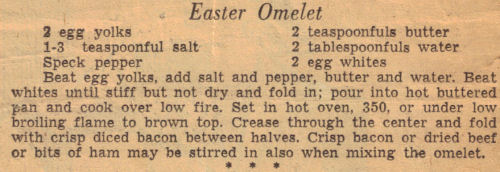 Easter Omelet Recipe Clipping