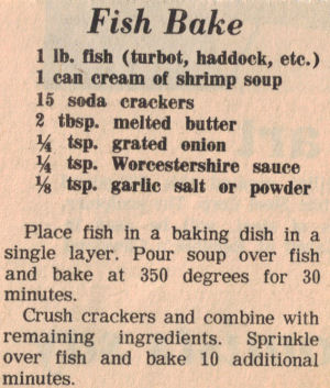 Recipe Clipping For Fish Bake