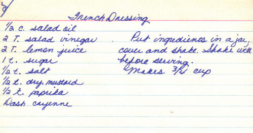 Handwritten Recipe Card For French Dressing
