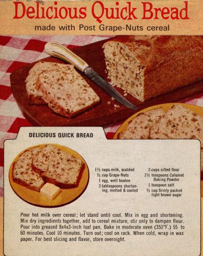 Second Vintage Grape-Nuts Bread Recipe Clipping