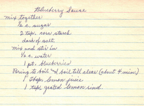 Handwritten Blueberry Sauce Recipe Card