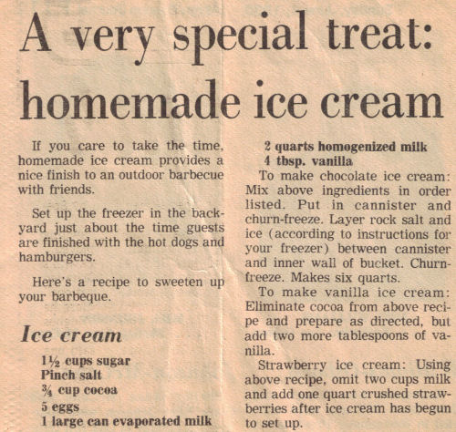 Homemade Ice Cream Recipe Clipping