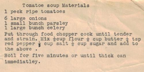 Homemade Tomato Soup Recipe Card