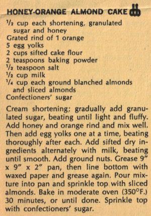 Vintage Recipe Clipping For Honey-Orange Almond Cake